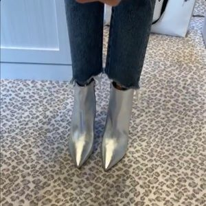 Forever 21 Steve Madden Silver Ankle Booties